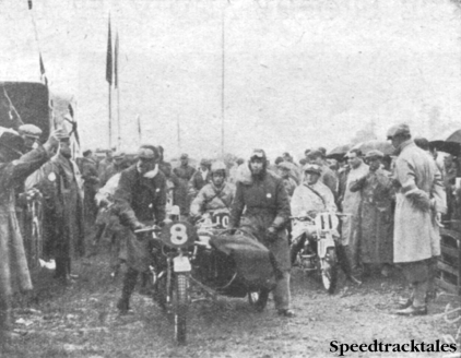 Photo - LEC Hall (Rudge sc) receives the starter's signal. Behind him are #10 the Dutchman Heusden (DKW) and #11 F Ischinger (DKW) from Germany. ISDT 1937 (Speedtracktales collection)