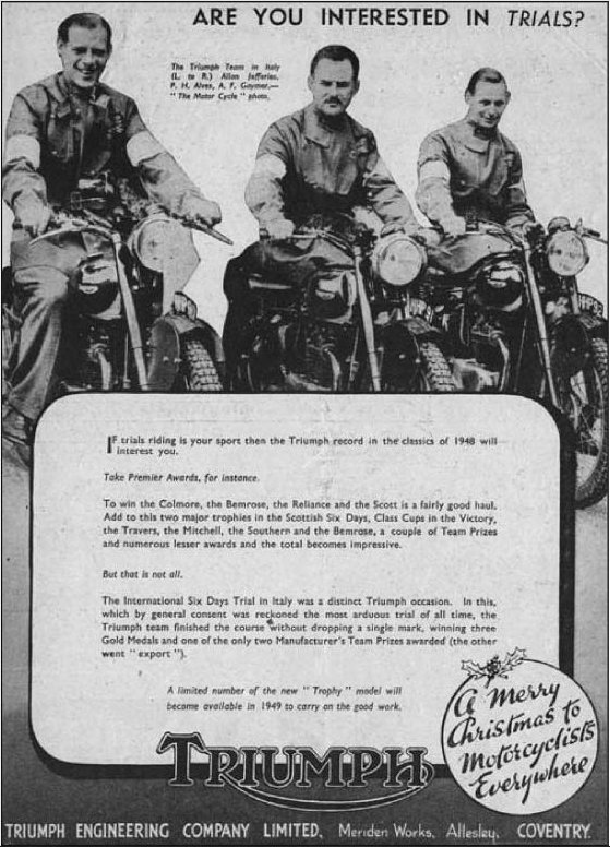 Advert promoting the success of the Triumph Trophy and Spped Twin in the ISDT 1948