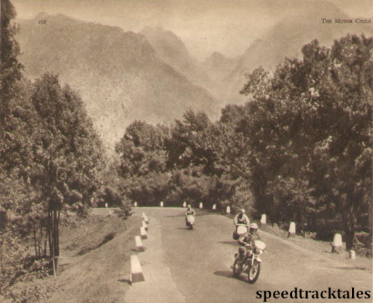 Photo - Majestic scenery at Piedmuler: S Mazzola (CZ) leads N. Biasci (Vespa) and D.Mazzancini (Vespa) ISDT 1951 (speedtracktales archive)