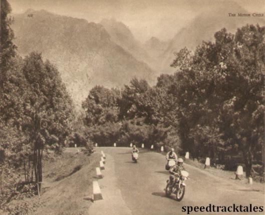 Photo - Majestic scenery at Piedmuler: S Mazzola (CZ) leads N. Biasci (Vespa) and D.Mazzancini (Vespa) ISDT 1951 (speedtracktales archive)