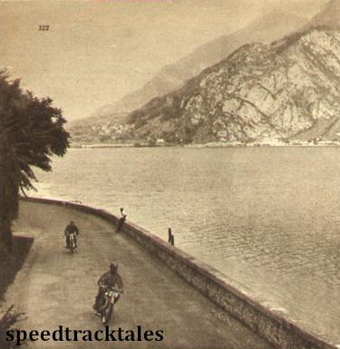 Photo - A fine scene by Lake Como; the leading competitor is  A Montanari (Guzzi) ISDT 1951 (speedtracktales archive)