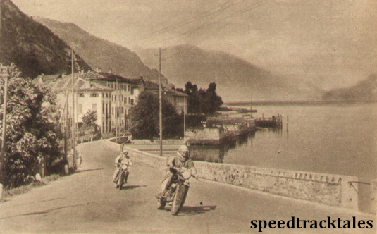 Photo - Fast riding by placid Lake Como: B.H.M Viney (AJS of the British Trophy team leads D. Evans (Ariel) ISDT 1951 (speedtracktales archive)