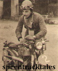 Photo - A 60cc competitor; #2 Mario Visioli on his little Ducati at Arona ISDT 1951 (speedtracktales archive)