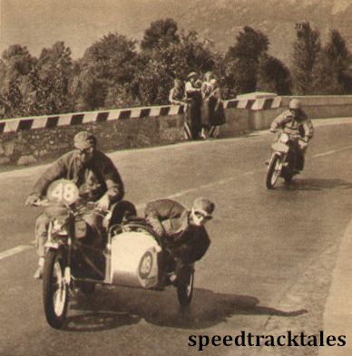 Photo - Fine action shot of #48 FH Whittle (Panther sc) near Vogogna. Following the Panther is U. Cervani (Matchless) ISDT 1951 (speedtracktales archive)