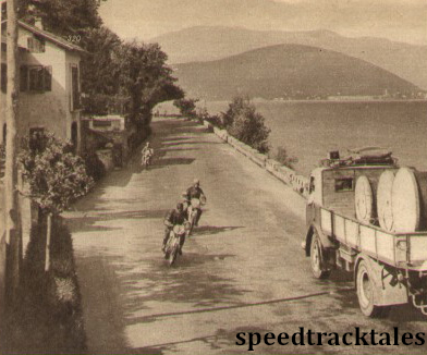 Photo - By Lake Maggiore. S Cymyral (Puch) is closely followed by PT Hammond (Triumph)ISDT 1951 (speedtracktales archive)