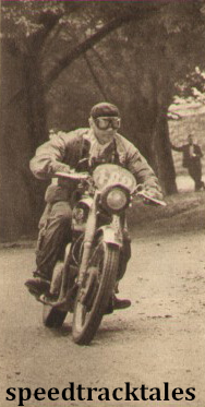 Photo - Effective shot of #182 F.M Rist (646 BSA) British Trophy Team captain near Levo ISDT 1951 (speedtracktales archive)