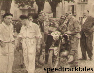 Photo - Busy scene as German competitor Franz Ischinger refuels his DKW two-fifty at Mosso Santa Maria ISDT 1951 (speedtracktales archive)