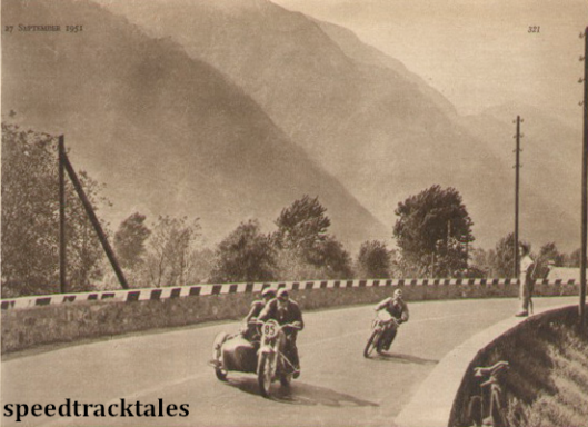Photo - IN the shadow of the mountains; G Keitel (Zündapp sc) and HP Müller (DKW) seen near Vogogna ISDT 1951 (speedtracktales archive)