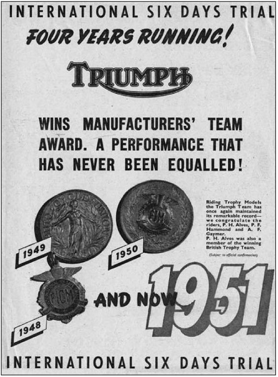 Image of scanned advert for Triumph promoting its success in the ISDT 1951