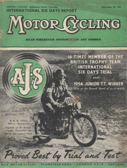 Image - scanned cover of Motor Cycling 30 Sept 1954 issue