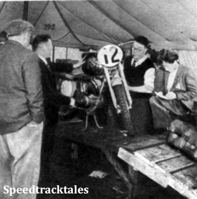 Photo - J. McNulty, in shirtsleeves, scrutineers U. Pohl's German Maico ISDT 1954 (Speedtracktales Collection)