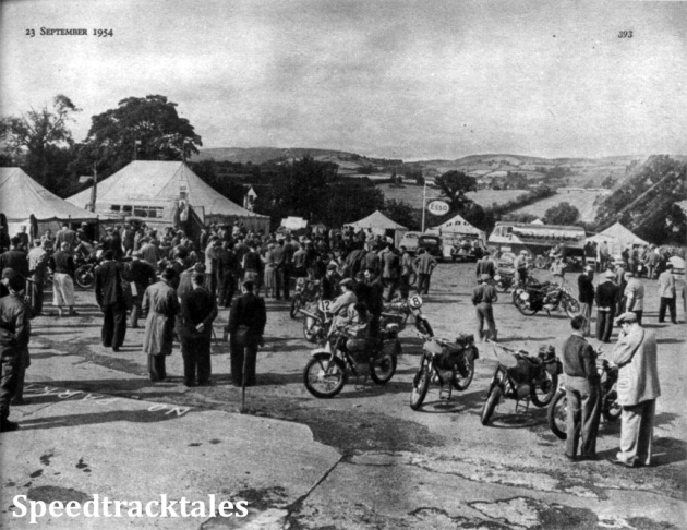 Photo - The INternational Six Days' Trial scene at Llandrindod Wells during the weekend. In the foreground are Italian Gilera machines ISDT 1954 (Speedtracktales Collection)