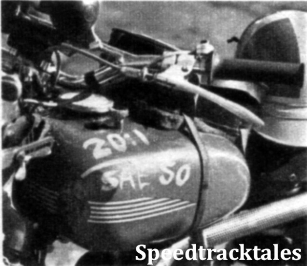 Photo - Make no mistake? Lubrication instructions on a Swedish Husqvarna ISDT 1954 (Speedtracktales Collection)