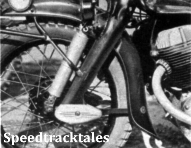 Photo - Hydraulic shock absorber fitted to the front fork of an N.S.U. ISDT 1954 (Speedtracktales Collection)