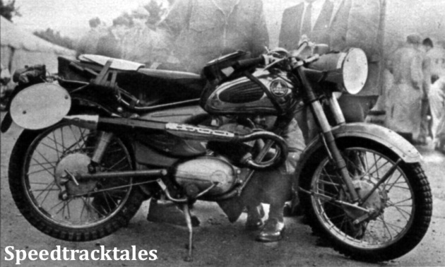Photo - A new 171cc Ardie from Germany with pivotoed fork, rear suspension and fully enclosed rear chain ISDT 1954 (Speedtracktales Collection)