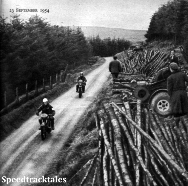 Photo - J. Aufreiter (Zündapp) of Austria and M. Banks (197 Tandon) pass through Crychan Forest ISDT 1954 (Speedtracktales Collection)