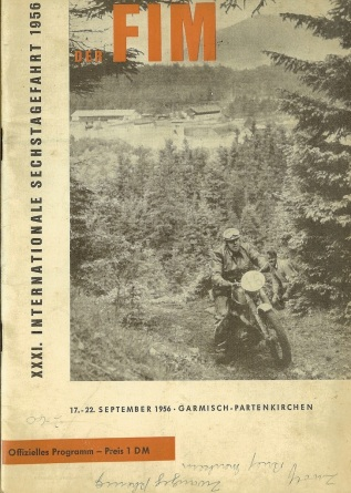 Image - scanned cover Official Programme of ISDT 1956 (Greenwood Family Collection)