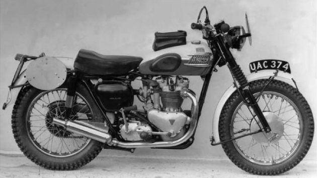 Image of factory team Triumph Trophy prepared for the ISDT 1958 (Triumph Trophy Bible)