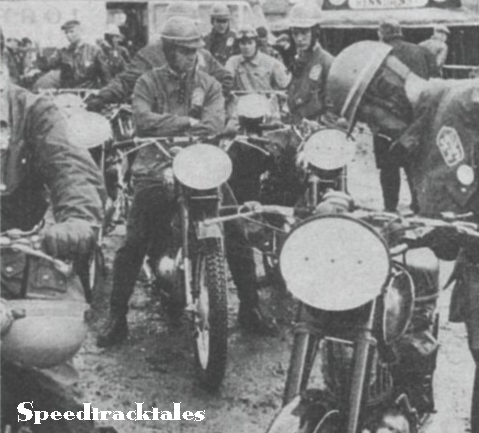 Photo - Czechoslovak riders line up for the weigh in with their immaculate Jawas and CZs. ISDT 1961