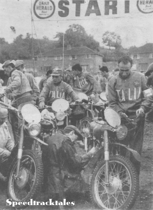 Saturday Scene - Italian Trophy riders with their machines ready for the weigh in.