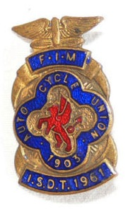 Photo - Souvenir lapel badge ISDT 1961 (Courtesy eBay)