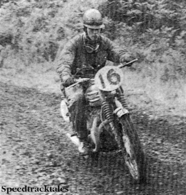 Photo - #16 Privateer Dick Clayton zooms through the second day timed section on his 500cc Triumph Trophy. He won a silver medal with eight marks lost on time and put up a creditable showing in the bonus points tests. ISDT 1962 (Speedtracktales Collection)