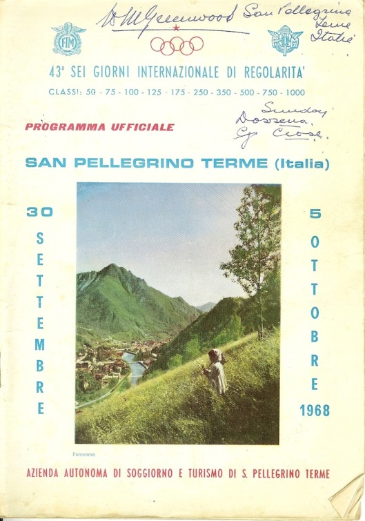 Image - scanned cover Official Programme of ISDT 1968 (Greenwood Family Collection)