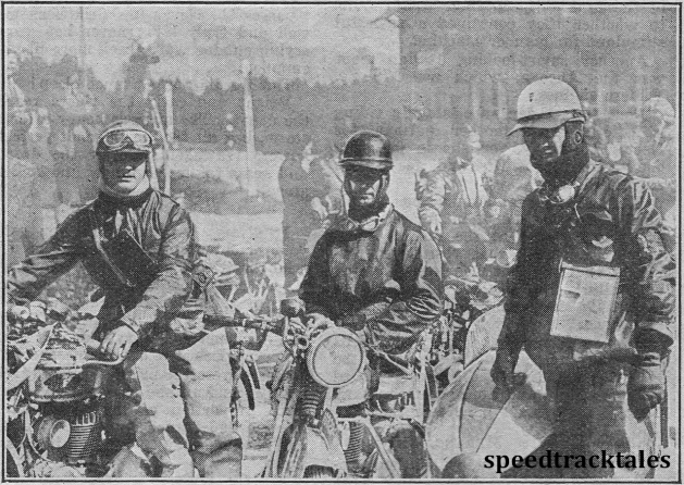photo - the Italian defenders of the Trophy (left to right) Miro Maffeis, Luigi Gilera and Rosolino Grana. They are all riding side-valve 500cc Gileras. ISDT 1932 (Speedtracktales archive)