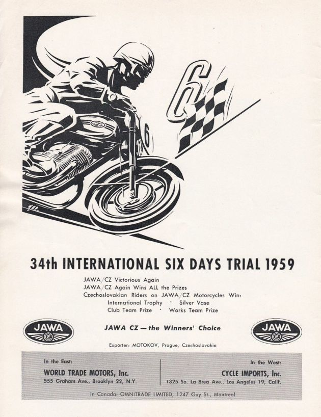 Image - scanned US Jawa CZ advert post ISDT 1959
