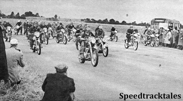 photo - Start of the one hour speed test at Madley airfield. Riders in the foreground are #286 BHM Viney (498 AJS), #152 M den Haan (248 Puch), Netherlands and #288 PH Alves ISDT 1954 (Speedtracktales Archive)