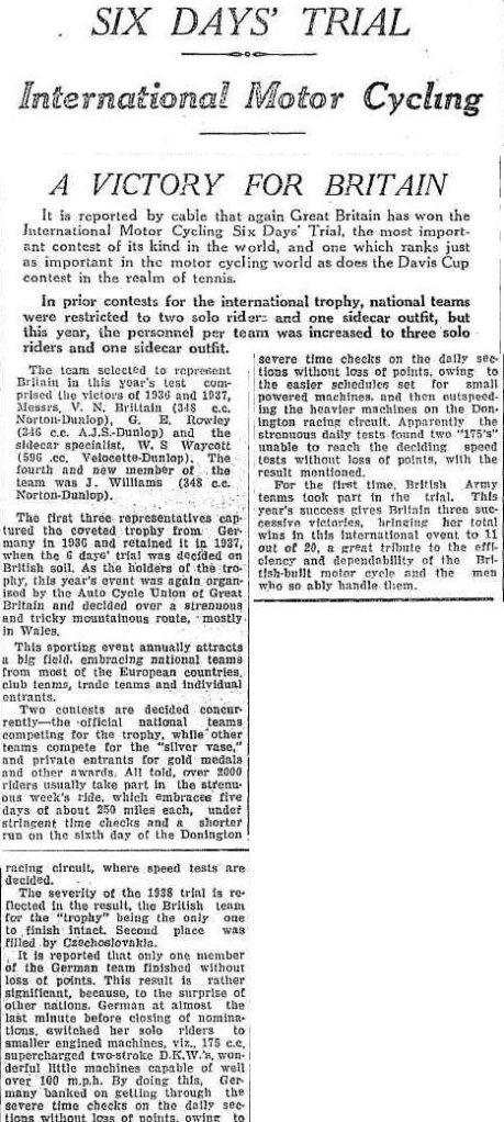 image - scanned article from the 'Maitland Daily Mercury' New South Wales, Australia reporting the victory of the British Trophy team and the unexpected overwhelming of a strong German team in the ISDT 1938