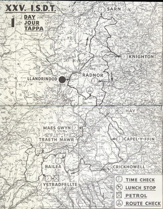Image - scanned map of course Day 1 ISDT 1950