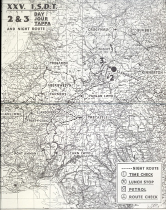 Image - scanned map of course Days 2 & 3 ISDT 1950