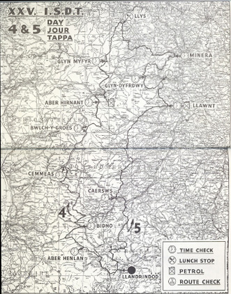 Image - scanned map of course Days 4 & 5 ISDT 1950