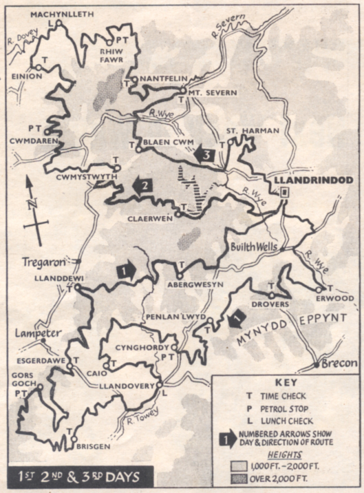 Image of Scanned map from 'Motor Cycling' showing  Day 1 - 3 route of ISDT 1961
