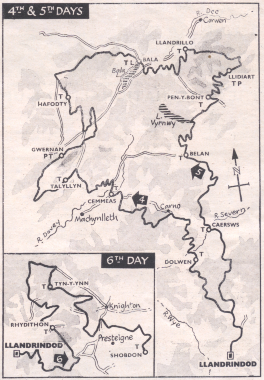 Image of Scanned map from 'Motor Cycling' showing Day 4 - 6 route of ISDT 1961