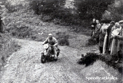 Photo of #79 G Meier (BMW) of Germany's 'A' Vase team, battling with the mud on Ffyrdd Croesty. Meier's team won the Vase , the trio losing no marks ISDT 1938 (Speedtracktales Collection)