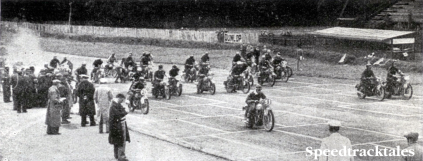 Photo the start of the competitors in the first group at the final speed test at Donnington on Saturday ISDT 1938 (Speedtracktales Collection)