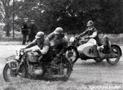 Photo #126 W Reinhardt (BMW sc) the only sidecar man to win a gold having a scrap with #84 WS Waycott (Velocette sc) at Donnington ISDT 1938 (Speedtracktales Collection)