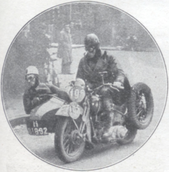 Photo - #109 DJ Wuis (1000 Harley Davidson sc) a Dutchman, is assisted by his passenger as he swerves a right hander ISDT 1938 (Speedtracktales Collection)