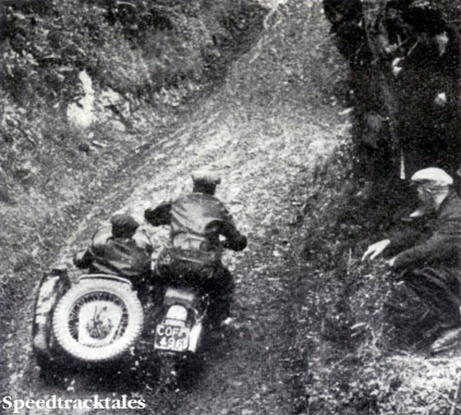 Photo WS Waycott (Velocette sc) making a fine climb of Talog during Wednesday's run ISDT 1938 (Speedtracktales Collection)