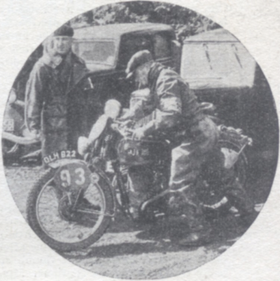 Photo GE Rowley (AJS) of our Trophy Team pushing off from the lunch check at Cray ISDT 1938 (Speedtracktales Collection)