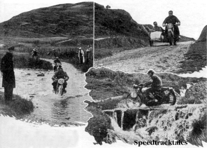 Photo A fine view of the Tregaron splash with the mountain, down which the riders have to descend, in the background. The Mariners are #150 the German W Mundhenke (BMW) and #13 his compatriot H Herrman (DKW) Top right - #56 H Zuur of Holland about to take his BMW outfit down Tregaron Hill. Lower right - #51 FE Thacker (Triumph) of our Vase 'B' team in a picturesque setting. ISDT 1938 (Speedtracktales Collection)