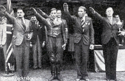 Photo of the German Vase Team who received their award during the Rally. They are R Seltsam, J Forstner and G Meier (BMWs) ISDT 1938 (Speedtracktales Collection)