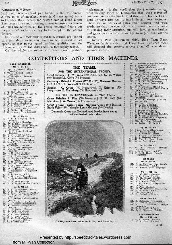 Images - scanned page of the Motorcycle 11 August 1927