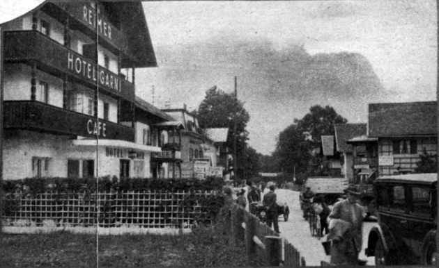 Photo - Outside of the Hof Reimer, Partenkirchen where most of our riders are staying.  ISDT 1934 (Speedtracktales Collection)