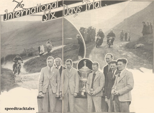 photo - LH- Eunant Pass, although rough and cross gullied, gave little trouble. Here is #113 H.Sim (498 Triumph) making a good climb. Centre - The winning British team shown with the Trophy after the presentation at Lilleshall. (l-r) V.N. Brittain (348 Norton), Major H.R. Watling, President of the Stewards and Director of the Manufacturers' Union. J. Williams (348 Norton), G.E. Rowley (346 A.J.S), N.P.O. Bradley, manager of the team ,V. Mundy and W.S> Waycott, passenger and driver of the Velocette sidecar-outfit. RH Side #30 J.J. Booker (248 Royal Enfield) and #7 B. Kratzer on the tiny 98 cc F&S climbing the famous Bwlch y Groes. ISDT 1938 (Mortons Archive)