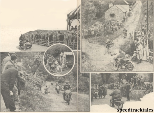 photo - LH Side - Spectators watch intently as competitors climb Babel Hill ,a 1 in 4 gradient. The riders are #102 J.A Leslie (499 Rudge) of the Great Britain