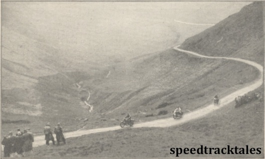 photo - It was unusual to find riding numbers running in sequence miles away from the start. Here are Nos #73, #74 and #75 C.N Rogers (346 Royal Enfield) H Fruth (494 BMW) and E Gordon Bennett (497 Ariel) on Bwlch y Groes ISDT 1938 (Mortons Archive)