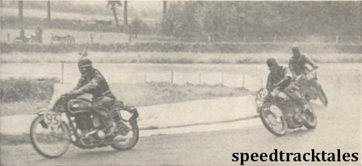 photo - Britain's Trophy team solo riders lapping Donington in the final speed test - George Rowley (A.J.S) followed by Jack Williams (Norton) and Vic Brittain (Norton) ISDT 1938 (Mortons Archive)